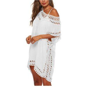 V-Neck Hollow Out Crochet Chiffon Cover-Up